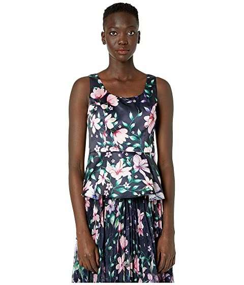 Marchesa Notte Sleeveless Printed Mikado Peplum Top
