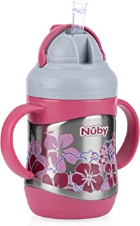 Nuby 2 Handle Stainless Steel Cup Click It with Straw, Pink