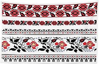 Lunarable Ukrainian Tapestry, Russian Rushnik Floral Arrangement Eastern European Folklore Ornaments, Fabric Wall Hanging Decor for Bedroom Living Room Dorm, 45