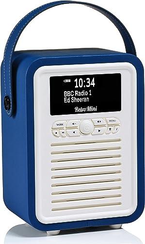 VQ Retro Mini DAB+ Digital Radio with FM, Bluetooth & Alarm Clock, Navy, (VQ-Mini-NB/AUS)