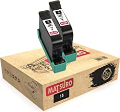 Matsuro Original | Compatible Remanufactured Cartuchos de Tinta Reemplazo para HP 15 (2 Negro)