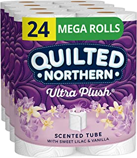 Quilted Northern Ultra Plush Tissue Mega Rolls Sweet Lilac Vanilla Scented Tube – Toilet Paper, White, 24 Count