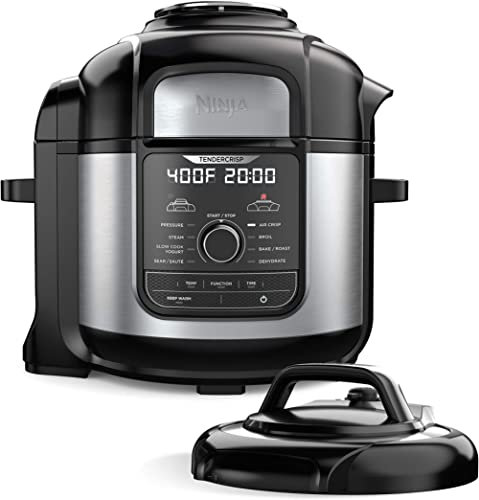 Ninja FD401 Foodi 8-Quart 9-in-1 Deluxe XL Pressure Cooker, Broil, Dehydrate, Slow Cook, Air Fryer, and More, with a ...