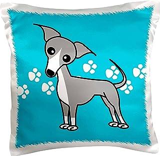 3dRose Cute Italian Greyhound Grey Blue Pawprint Background, Pillow Case, 41cm by 41cm