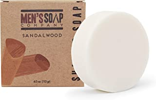 Men's Soap Company Shaving Soap for Men and Women 4.0oz Refill Puck Made with Natural Vegan Plant Ingredients - Shea Butter & Vitamin E Create Thick Shave Soap Lather for Skin Protection, Sandalwood
