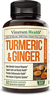 Turmeric Curcumin with Ginger, Bioperine. Occasional Joint Pain Relief, Supports Inflammatory Response, Plant-Based Antioxidant, Healthy-Aging, with 10 milligrams of Black Pepper. 60 Capsules