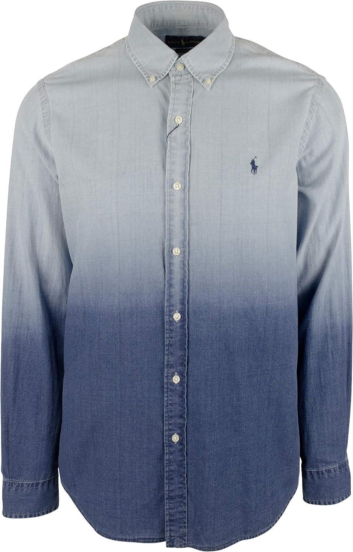 Men's Classic Fit Dip-Dyed Shirt Long Sleeves Shirt