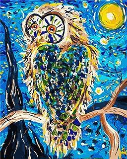 DIY 数字油画 帆布油画 画手绘 DIY绘画 数码油画儿童 成人 面向初学者 操作简单40x50cm(フレームレス)太陽とフクロウ