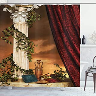 Ambesonne Gothic Shower Curtain, Greek Style Scene Climber Pillow Fruits Vine and Red Curtain Sunset, Cloth Fabric Bathroom Decor Set with Hooks, 70