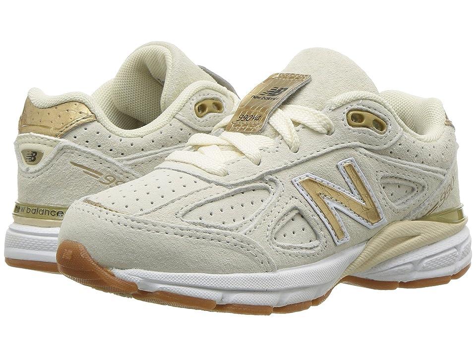 New Balance Kids KJ990v4P (Little Kid) (Angora/Gold) Girls Shoes