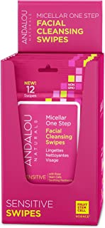 Andalou Naturals Sensitive Micellar 12 Facial Swipes (Pack of 6), Natural Makeup Wipes with Micellar Water for Easy Face Cleansing and Makeup Removal for Sensitive Skin Types