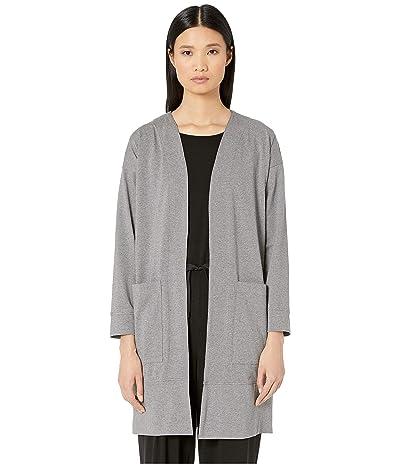 Eileen Fisher Heathered Organic Cotton Stretch Jersey Bracelet Sleeve Long Jacket (Moon) Women