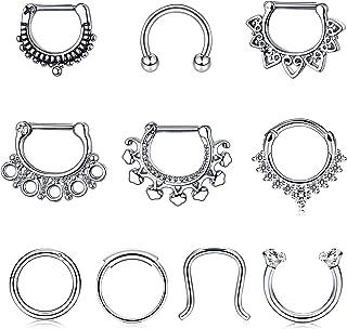 YADOCA 10Pcs 16G Stainless Steel Septum Clicker Nose Rings Hoop Horseshoe Cartilage Tragus Septum Ring Body Piercing Jewelry