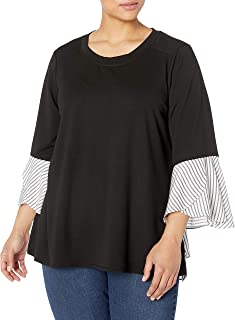 AGB Women's Plus Size 2-fer French Terry Top