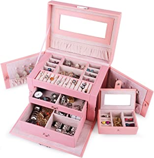 Kendal Large Leather Jewelry Box/Case/Storage/Organizer with Travel Case and Lock (Pink)