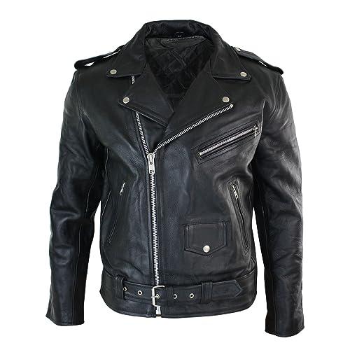 Gaudi-Leathers Veste Homme en Cuir Moto Biker Vest Gilet Rocker