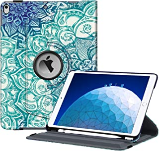 """Fintie Rotating Case for iPad Air (3rd Gen) 10.5"""" 2019 / iPad Pro 10.5"""" 2017-360 Degree Rotating Stand Protective Cover with Built-in Pencil Holder, Auto Sleep/Wake (Emerald Illusions)"""