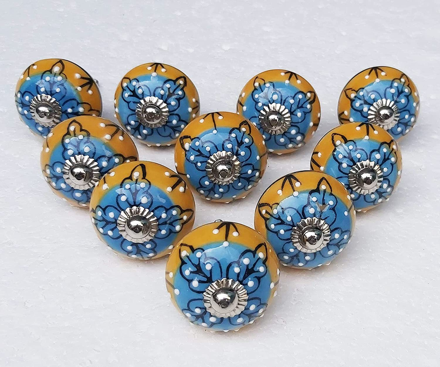 Hand Painted Ceramic Knobs Home Don't miss the campaign Cabinet Drawer Multicolor Popularity Décor