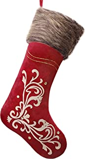 Valery Madelyn 21 inch Luxury Red Gold Christmas Stockings with Baroque Patterns and Faux Fur Cuff, Themed with Tree Skirt (Not Included)