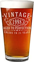 Vintage 1998 Etched 16oz Pint Beer Glass - 21st Birthday Aged to Perfection - 21 years old gifts