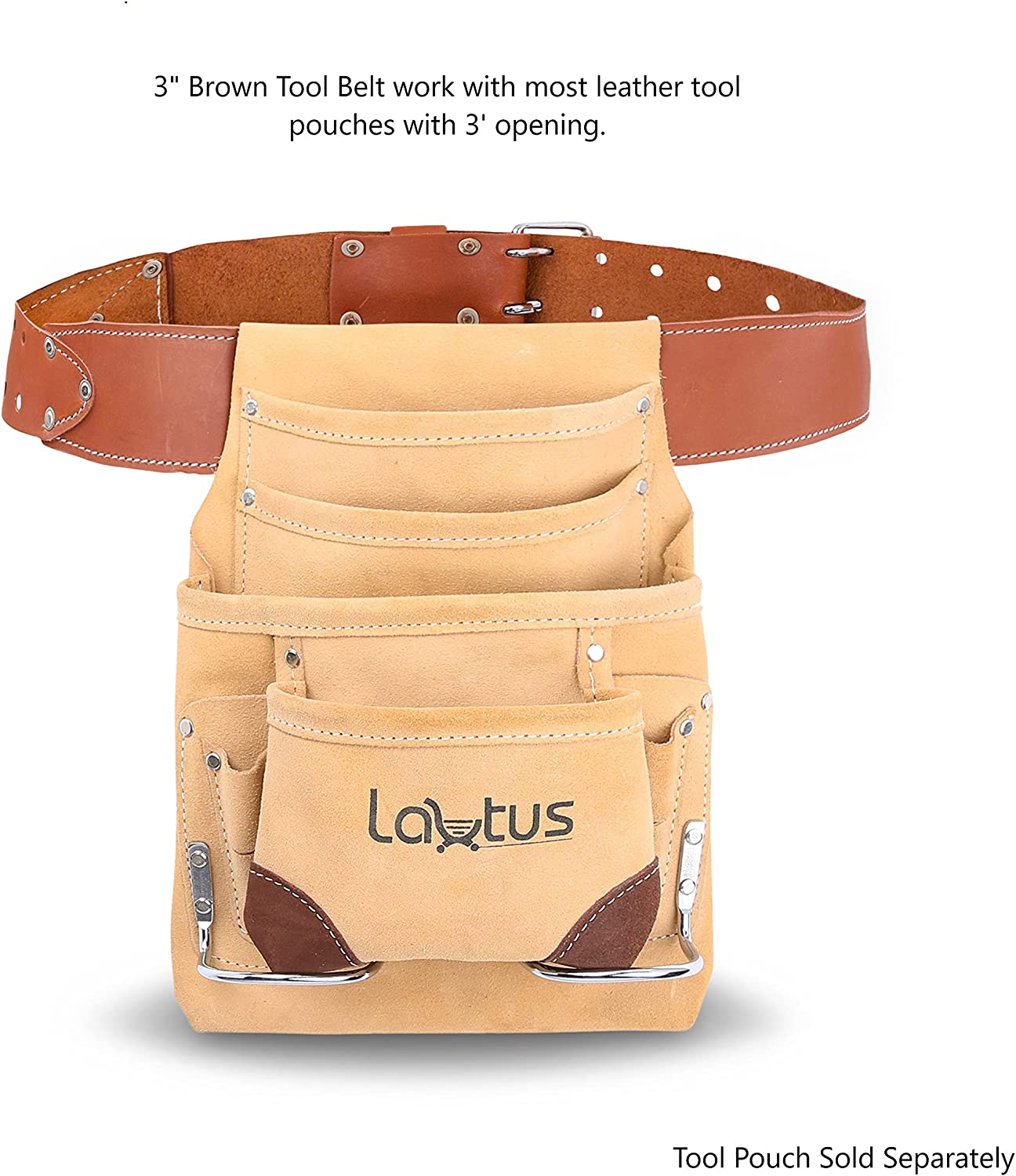 LAUTUS 3-Inch Tapered Work Belt in Heavy Oiled Tanned Leather| 32-Inch to 46-Inch | Brown|