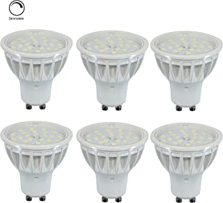 Dimmable GU10 LED Light Bulb,5W Equivalent 50W Warm White 2700K 600LM,120 Degree Beam Angle,GU10 Halogen Bulbs Replacement, Brightness Track Light Cabinet Downlighting, 2 Years Warranty, 6 Pack.