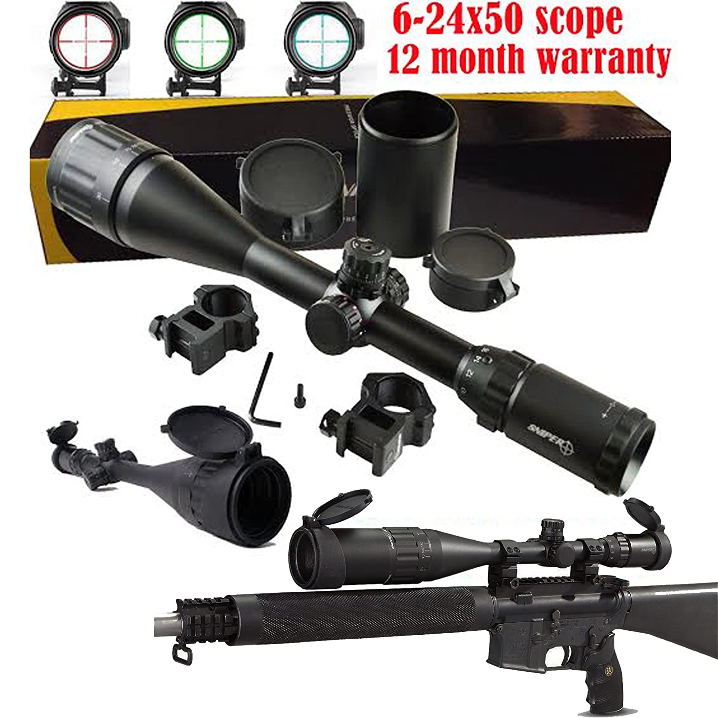 SNIPER? 6-24x50 AOE Illuminated Rifle Hunting Sniper Scope