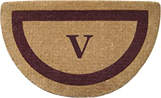 """Heavy Duty 22"""" x 36"""" Coco Mat, Brown Single Picture Frame Monogrammed V, Half Round"""