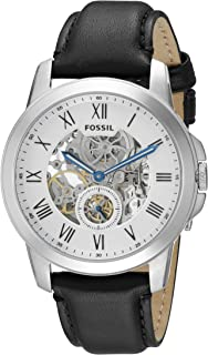 Fossil Grant For Men Silver Dial Leather Band Automatic Watch - ME3053