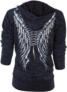 Affliction Womens Hoodie Sweatshirt Zip UP Jacket Michelle Biker Rhinestones