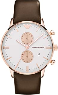 Emporio Armani Men's White Dial Leather Band Watch - AR0398