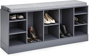 Best Choice Products 46in Shoe Storage Organization Rack Bench for Entryway, Bedroom w/Padded Seat, 10 Cubbies - Gray