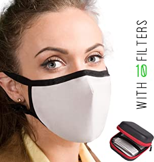 Dust Proof Anti Pollution Face Mask – Protects Against Air Pollution Dust Smoke Smog Ash Pollen. Adjustable Breathing Masks with 10 N99 Filters