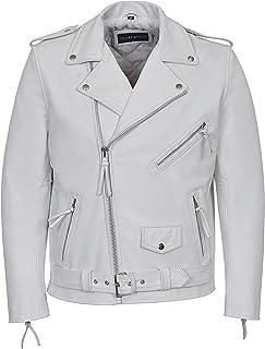 Men Genuine Black Leather Motorcycle Jacket Size 6 Xl Jade White Apparel & Merchandise