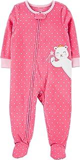 Macacão Pijama Fleece Carter's Ursinho Pink Menina com Pezinho Plush