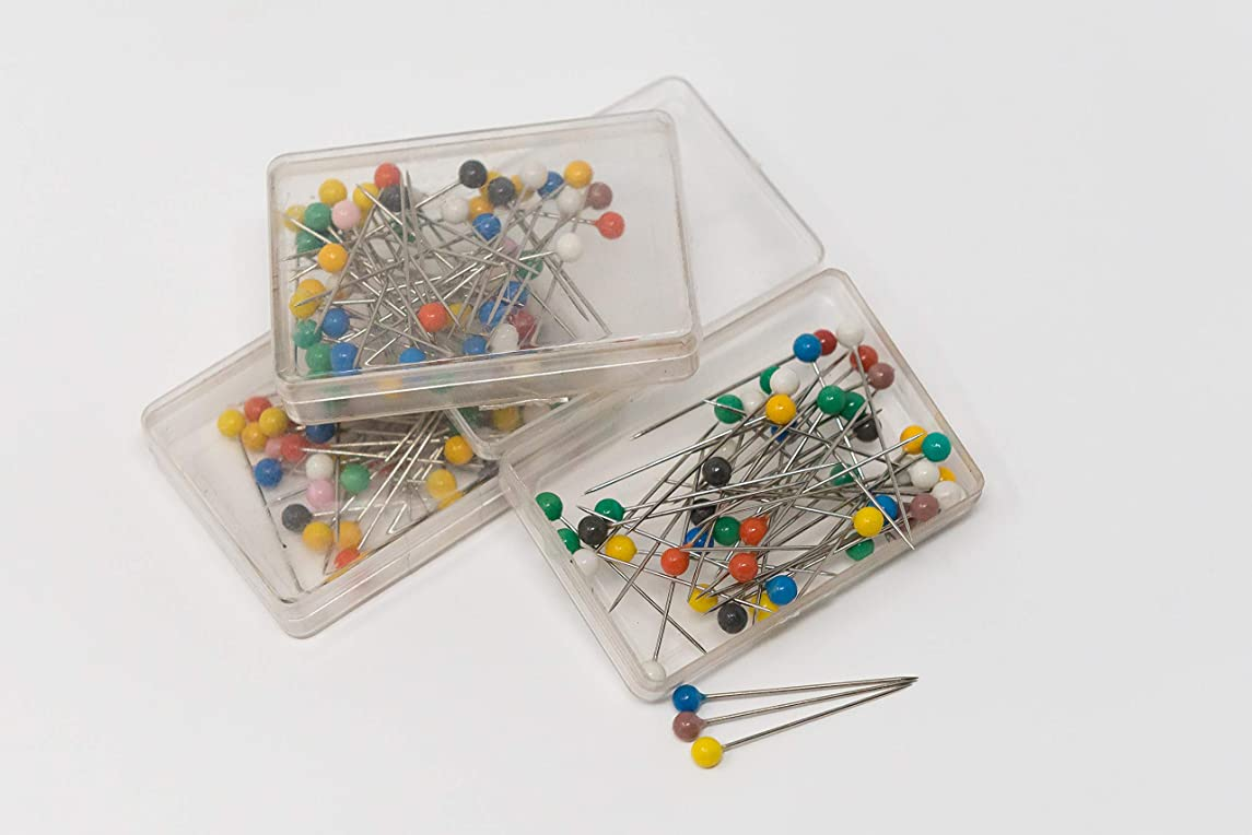 Assorted Colorful Pearl Ball Head Straight Pins - 3 Packs of 40 Pins for Package