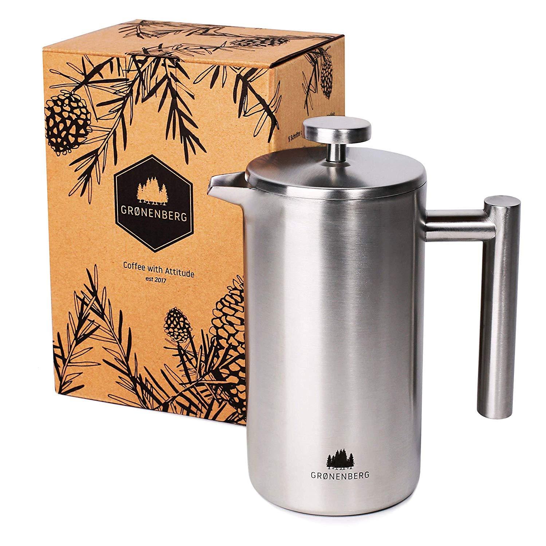 Groenenberg Cafetera Francesa 1 litro (5 Tazas) | Cafetera émbolo de Acero INOX | French Press de Doble Pared aislada | Cafetera con filtros de Repuesto e Instrucciones | Apta para lavaplatos: Amazon.es: Hogar