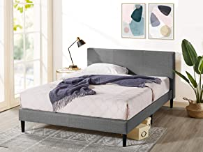Zinus Nelly King Bed Frame Fabric Upholstered Platform Contemporary Mattress Support - Dark Grey