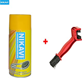 NIKAVI Chain Grease Spray with Motorcycle Chain Cleaning Brush, 400 ml (Red)