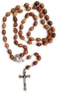 Rosary Catholic Prayer Necklace Olive Wood Beads with Crucifix and Virgin Mary Jerusalem Soil Centerpiece Handmade in Bethlehem Holy Land