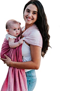 Luxury Ring Sling Baby Carrier – Extra Soft Bamboo & Linen Fabric, Full Support and Comfort for Newborns, Infants & Toddlers - Best Baby Shower Gift - Nursing Cover (Pink Sunset)