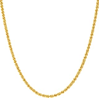 1mm Rope Chain Necklace 24k Real Gold Plated for Women and Men with Free Lifetime Replacement Guarantee
