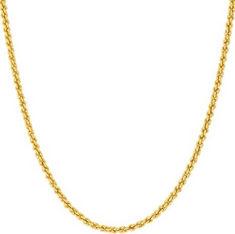 LIFETIME JEWELRY 1mm Rope Chain Necklace 24k Real Gold Plated for Women and Men