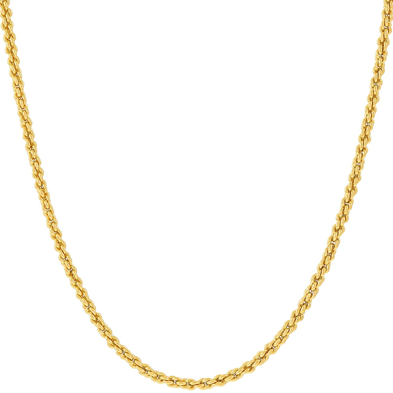 Lifetime Jewelry Gold Chain Necklace Jewelry for Women & Men [ 1mm Rope Chain ] – Up to 20X More 24k Plating Than Other Pendant Necklaces Chains – Yellow or White Gold - 16 to 30 inches