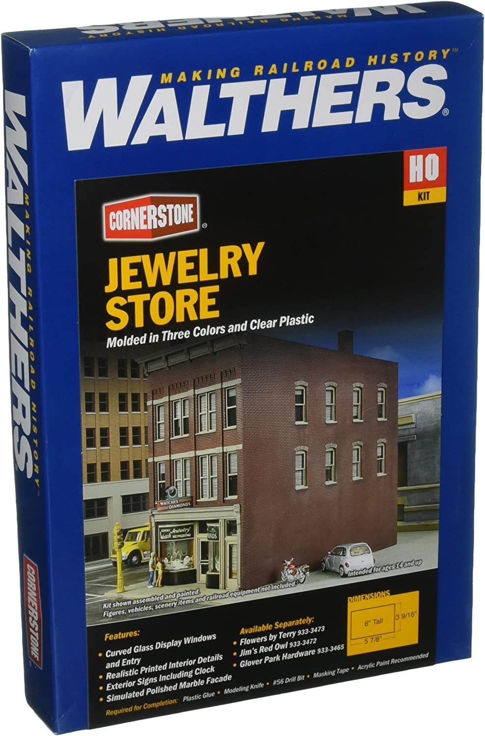 Walthers Inc. Jewelry Store Kit, 39 16 X 57 8 X 6  9.1 X 14.9 X 15.2cm