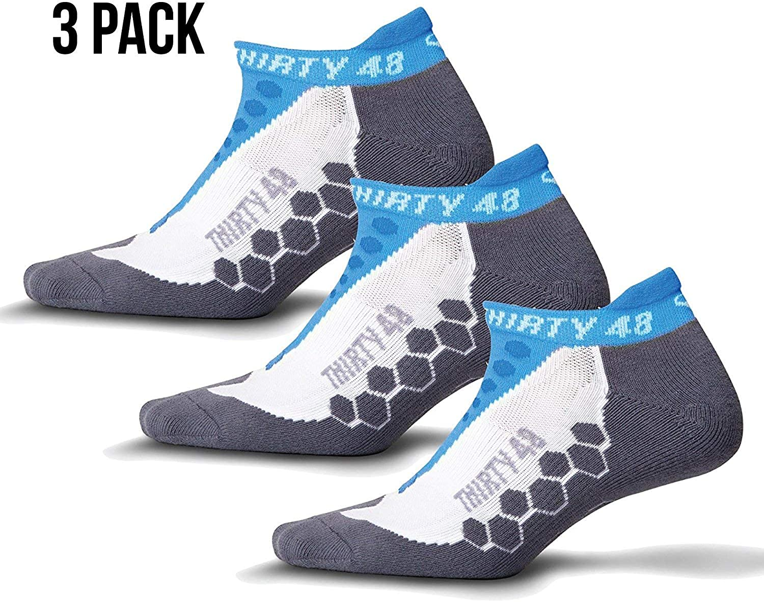 Thirty 48 Running Socks for Men and Women by Features Coolmax Fabric That Keeps Feet Cool & Dry  1 Pair, 3 Pair, or 6 Pair