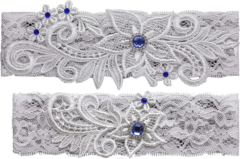 Crownguide Set of 2 Brides Garters for Wedding Prom Vintage Inspired Rustic Garter Set for Women
