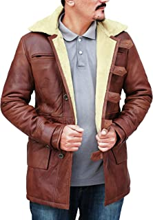 Bane Dark Fur Shearling Knight Brown Rises Tom Winter Hardy Genuine Leather Trench Coat