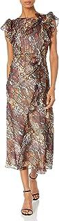 Rebecca Taylor Women's Sleeveless Animal Print Ruffle Midi Dress