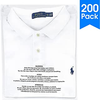 200 Count - 10 X 13 Self Seal 1.5 Mil Clear Plastic Poly Bags with Suffocation Warning - Permanent Adhesive by Spartan Industrial (More Sizes Available)